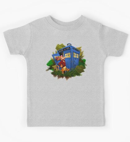 Doctor Tiger with Blue Phone Box Kids Tee