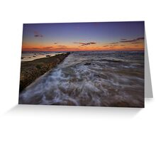 Bar Beach Breakwall at Dusk Greeting Card