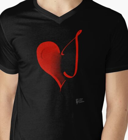 Listening Heart Mens V-Neck T-Shirt
