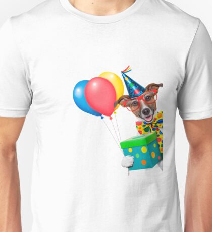 Birthday Dog With Balloons Tie and Glasses                                  Unisex T-Shirt