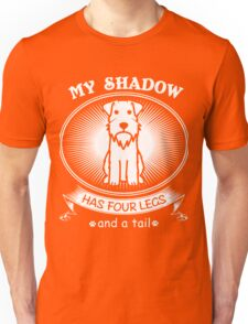 Schnauzer Dog Super Funny and Cute Design - My Shadow Has Four Legs and A Tail Unisex T-Shirt