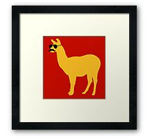 Funny llama with sunglasses and mustache Framed Print