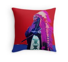 Indian Chief - Red White and Blue Throw Pillow