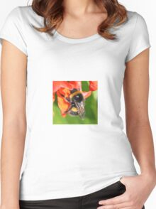 Bumble Bee on Flower of Runner bean Women's Fitted Scoop T-Shirt