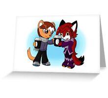 Gerbil 'n Fox - Cappuccino Buddies Greeting Card