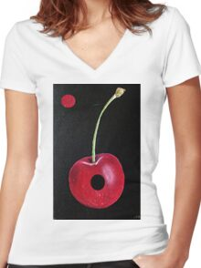 HOLE CHERRY Women's Fitted V-Neck T-Shirt
