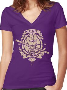 Mutant and Proud! (Donnie) Women's Fitted V-Neck T-Shirt