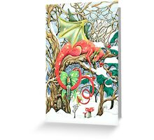 Snow dragon and his fairy Greeting Card