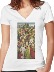 Derick Baegert - Christ Bearing The Cross Women's Fitted V-Neck T-Shirt
