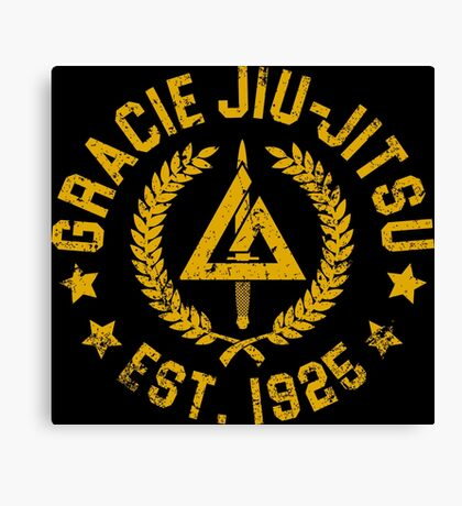 Gracie Brazilian  Jiu Jitsu martial arts EST 1925 scratch Yellow Canvas Print