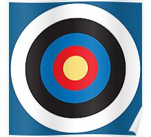 BULLS EYE, Right on target, small, on Blue Poster