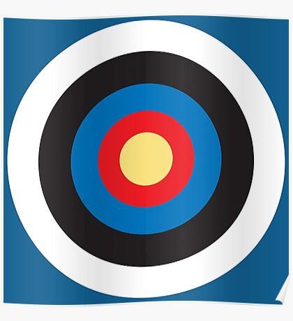 BULLS EYE, SMALL, Target, Archery, Right on target, Navy, Blue Poster