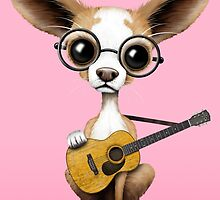 Chihuahua Puppy Dog Playing Old Acoustic Guitar Pink by Jeff Bartels