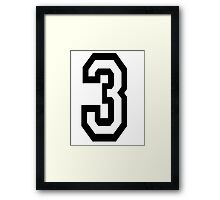 TEAM SPORTS, NUMBER 3, THREE, THIRD, Competition Framed Print