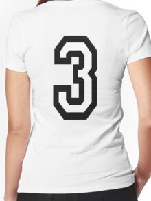 3, TEAM SPORTS, NUMBER 3, THREE, THIRD, Competition, Tri,  Triple Women's Fitted V-Neck T-Shirt
