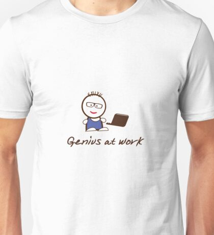 Genius at work – Geek on computer Unisex T-Shirt