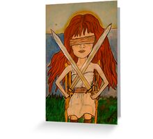 Two of Swords - Tarot Illustration Greeting Card