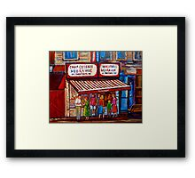 PAINTINGS OF MONTREAL STREETS SCHWARTZ'S HEBREW DELI Framed Print