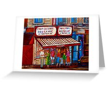 PAINTINGS OF MONTREAL STREETS SCHWARTZ'S HEBREW DELI Greeting Card