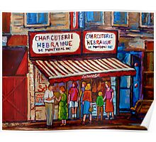 PAINTINGS OF MONTREAL STREETS SCHWARTZ'S HEBREW DELI Poster