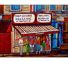 PAINTINGS OF MONTREAL STREETS SCHWARTZ'S HEBREW DELI Photographic Print