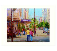 PAINTINGS OF MONTREAL STREETS HOLT RENFREW SHERBROOKE STREET Art Print