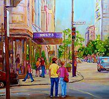 PAINTINGS OF MONTREAL STREETS HOLT RENFREW SHERBROOKE STREET by Carole  Spandau