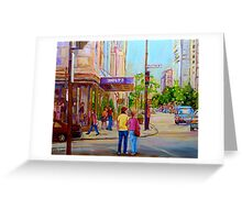 PAINTINGS OF MONTREAL STREETS HOLT RENFREW SHERBROOKE STREET Greeting Card