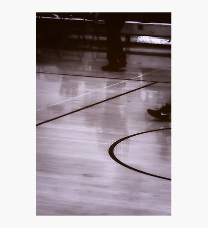 Reflections of a Ref Basketball referee reflection on court photo Photographic Print
