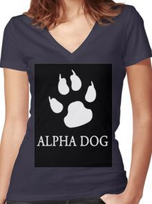 Alpha Dog paw print - white Women's Fitted V-Neck T-Shirt