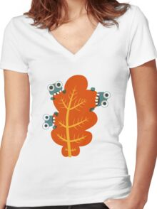 Cute Bugs Eating Autumn Leaves Women's Fitted V-Neck T-Shirt