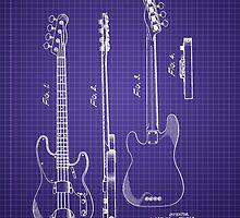 Fender Bass Guitar Patent-1953-Blueprint by Barry  Jones