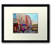 PAINTINGS OF OLD MONTREAL STREETS LA CREME DE LA CREME Framed Print