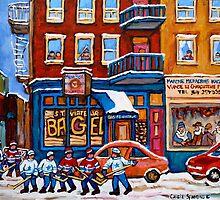 St. Viateur Bagel with Hockey by Carole  Spandau