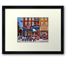 St. Viateur Bagel with Hockey Framed Print