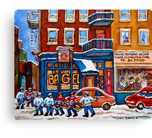 St. Viateur Bagel with Hockey Canvas Print
