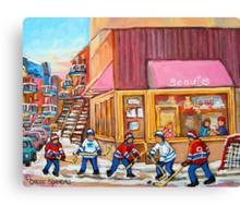 Hockey Game Near Beauty's Restaurant Canvas Print