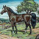 Arabian Horse In Summer Pasture by WildestArt