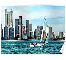 Chicago IL - Sailboat Against Chicago Skyline Poster