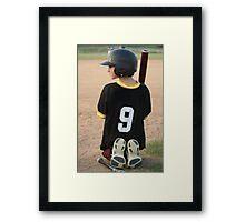 Boy Waiting To Bat Framed Print