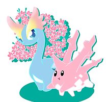 Corsola and Amaura in Spring by Ishmi