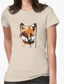 Geometric Watercolor Fox Womens Fitted T-Shirt