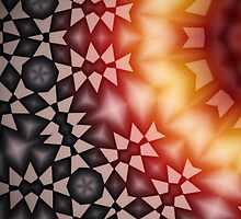 Radial geometric glowing pattern with warm colors by Escarpatte