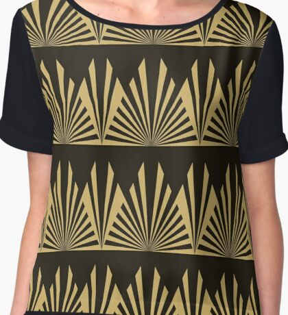 Art deco,black and gold,geometric,pattern,vintage,chic,1920 era Chiffon Top