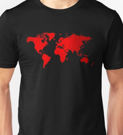 Red map of the world Unisex T-Shirt