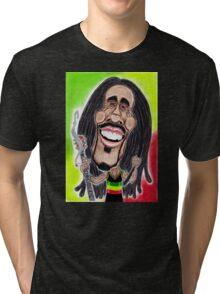 Reggae Rasta Jamaican Caricature Drawing Tri-blend T-Shirt