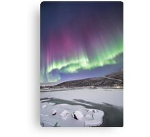 Over the icy lake Canvas Print