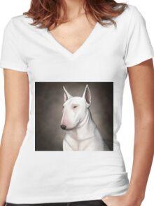 Bull Terrier Women's Fitted V-Neck T-Shirt