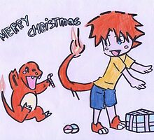 charmander christmas by MistyBlueeye