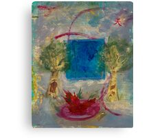 Sky Over Fire Pool With Two Trees Canvas Print